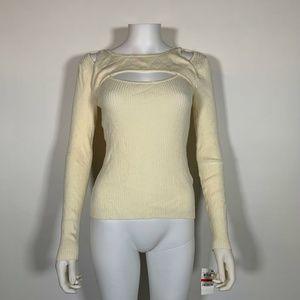 Bar III Sweater Ribbed Cut Out Long Sleeve Sz XL